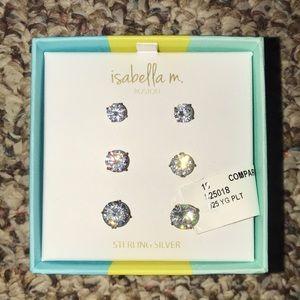 Isabella M. Silver Stud Earrings (3 pair, NWT)